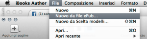 Screenshot che mostra Ibooks Author che permette di importare ePub
