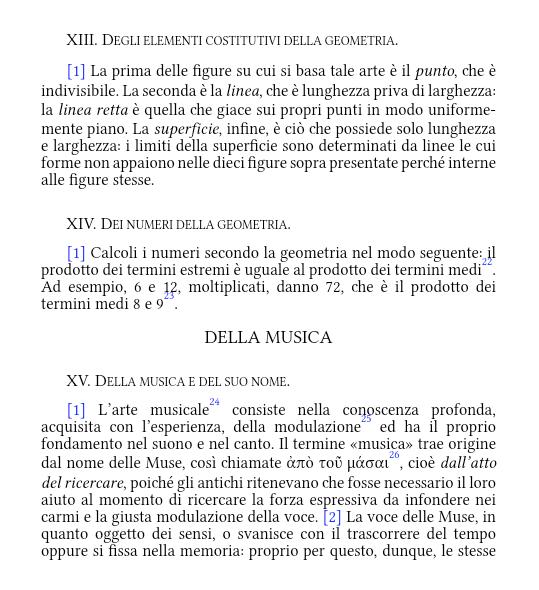 Testo italiano con note e paragrafi ipertestuali: la parte italiana.