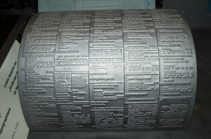 Gutenberg Museum Fribourg - Cylindrical Printing Plate Made of Lead for Letterpress Printing