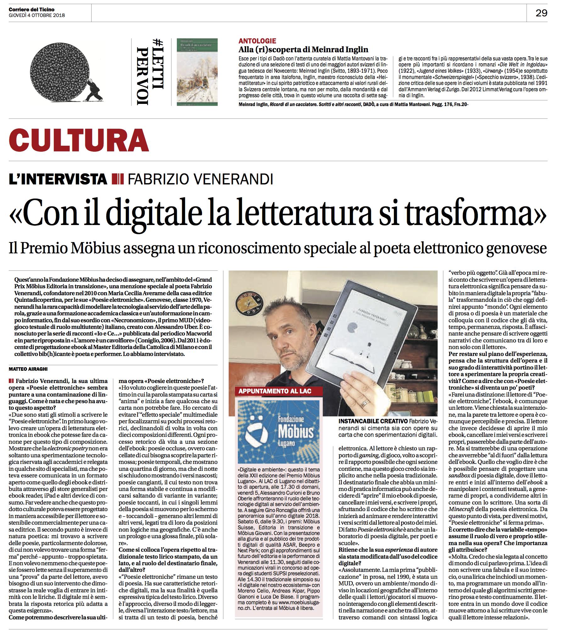 Intervista venerandi Corriere del Ticino
